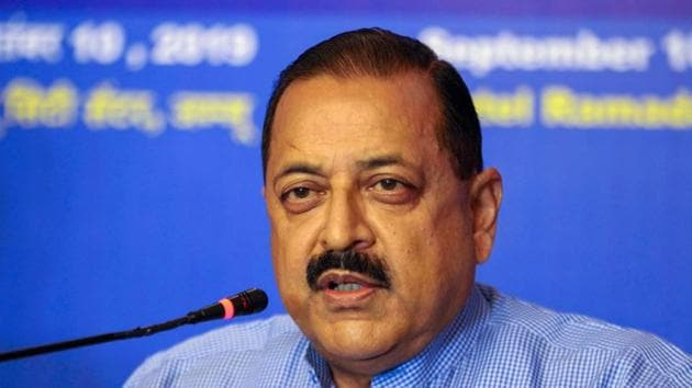 Minister of State for PMO Jitendra Singh addresses a press conference in Jammu in September 2019.(Photo: PTI)