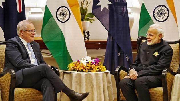 Prime Minister Narendra Modi and Australian Prime Minister Scott Morrison meet on the sidelines of East Asia Summit, in Singapore.(File photo: PTI)