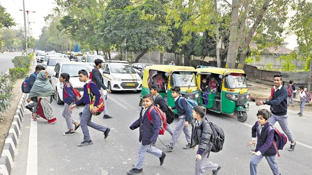 Research shows that the bulk of pedestrian deaths happen while they are crossing the road.(HT File Photo / Used for representational purpose only)