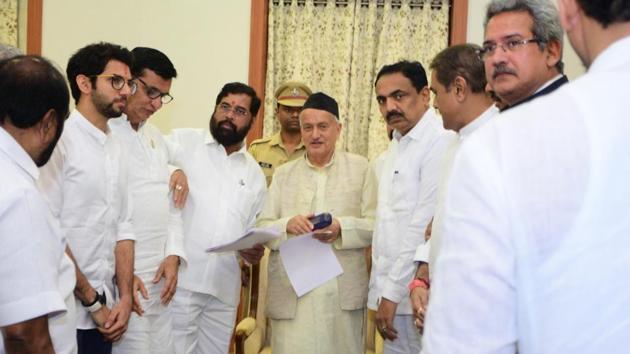 Mumbai, India - Nov. 26, 2019:Shiv Sena, NCP and Congress met Governor of Maharashtra Bhagat Singh Koshyari at Raj Bhavan in Mumbai, India, on Tuesday, November 26, 2019. (HT PHOTO)