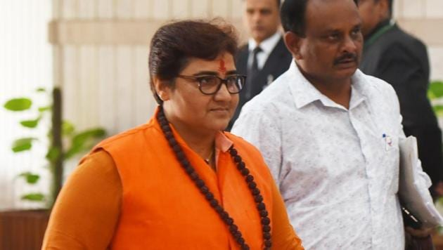 BJP MP Pragya Thakur arrives to attend the BJP parliamentary party meeting during the winter session of Parliament, in New Delhi.(Mohd Zakir/HT PHOTO)
