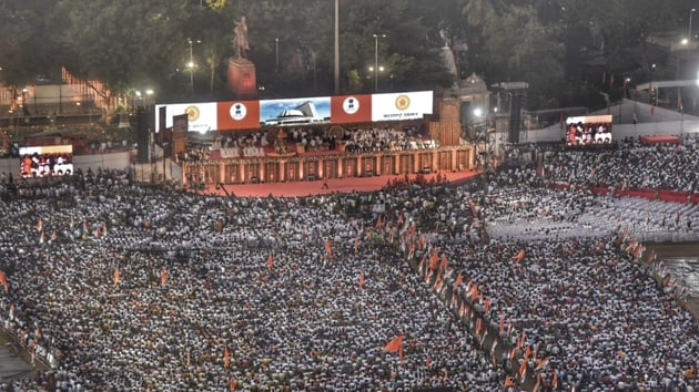 Aerial view of the stage where Uddhav Thackeray will take his oath has been designed by famous art director Nitin Desai.(Kunal Patil/ HT Photo)