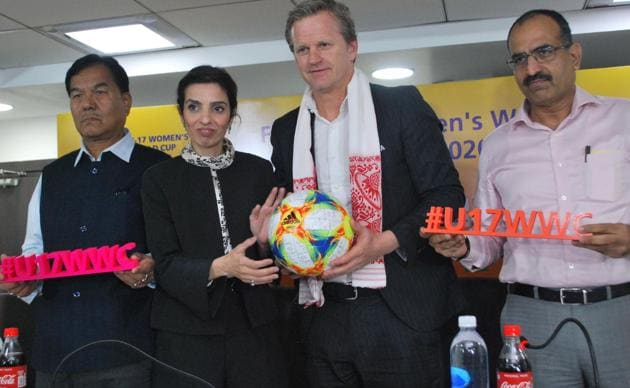 The FIFA delegation, along with members of the LOC, visited the Indira Gandhi Athletic International Stadium for the FIFA U-17 Women's World Cup India 2020(AIFF)