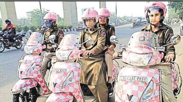 Delhi Police's special women's patrol unit has been assigned a new tool by which they can be distinguished from male colleagues — the colour code pink(By Arrangement)