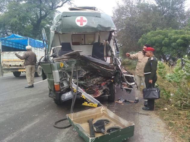 The army ambulance that met with an accident in Malout town of Muktsar district on Thursday morning.(HT Photo)