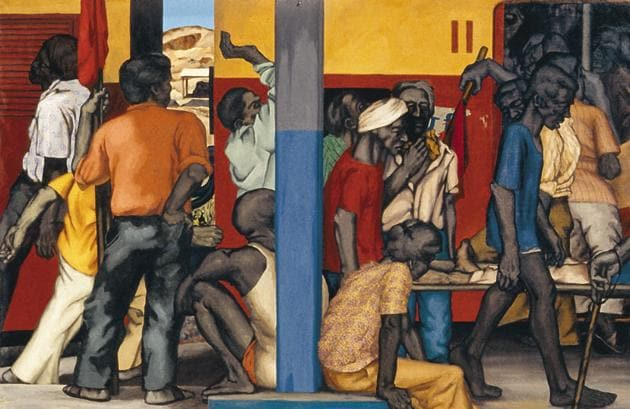 For five decades, Sudhir Patwardhan has captured city life, its everyday tensions, and the burden of surviving the metropolis they help operate. Accident on May Day is a work from the '80s, which depicts a crowded train at a busy station, passengers and passersby carrying on, as an injured man is carried away on a stretcher.(Courtesy: The Guild)