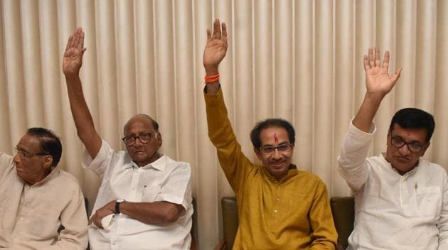 Sharad Pawar's Nationalist Congress Party (NCP) will get to nominate a deputy chief minister and a Congress MLA will occupy the assembly Speaker's position.(HT Photo)
