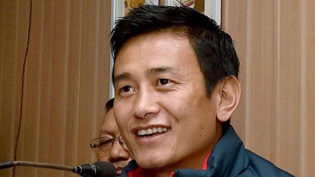 File image of former India captain Bhaichung Bhutia.(PTI)