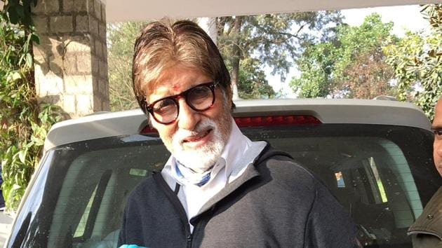 Amitabh Bachchan poses for a photo as he stays at Mandi town on his way to Manali for the shoot of the film.(ANI)