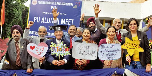 Alumni members strike a pose during the two-day global meet on Thursday.(HT PHOTO)