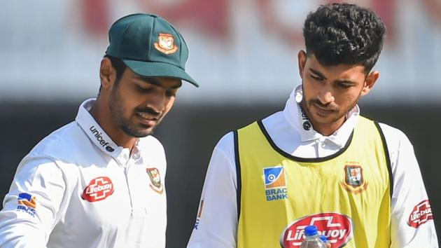 Saif Hassan gets treatment after suffering an injury.(PTI)