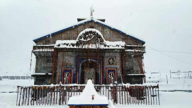 Kedarnath temple covered in a sheet of snow, Nov 27, 2019. The Uttarakhand cabinet on Wednesday approved a proposal to manage the Char Dham,or four holy Hindu abodes in the state.(ANI)