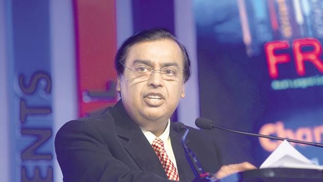 Mukesh Ambani-led Reliance Industries Ltd (RIL) today became the first Indian company to hit the ₹10 lakh crore milestone in market cap, after its shares rose to a record high of ₹1,581 apiece.(ABHIJIT BHATLEKAR/MINT)