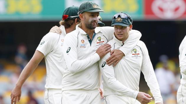 Australia's Nathan Lyon, left, and Steve Smith(AP)