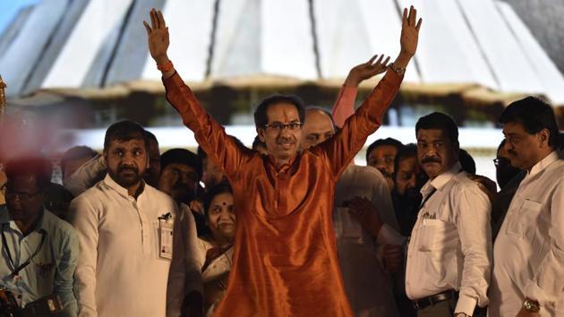 Shiv Sena chief Uddhav Thackeray takes oath during the swearing-in ceremony at Shivaji park in Mumbai on Thursday.(Anshuman Poyrekar/HT Photo)
