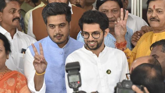 NCP's Rohit Pawar and Shiv Sena's Aditya Thackarey at Maharashtra Vidhan Bhavan in Mumbai, on Wednesday, November 27, 2019.(Anshuman Poyrekar/ HT)