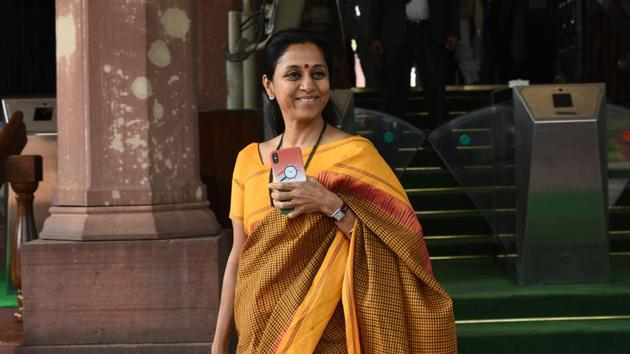 NCP leader Supriya Sule seen during the winter session at Parliament in New Delhi on Thursday, November 21, 2019.(Vipin Kumar/HT PHOTO)
