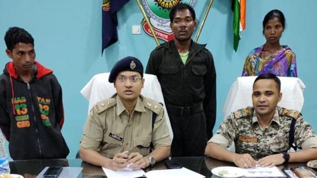 The police have recovered live rounds of AK-47, SLR and Insas rifles, switches used for triggering IED blasts, Maoist uniforms, literature and detonators from the possession of the three Maoists.(HT PHOTO.)
