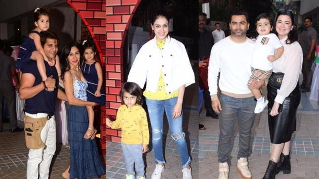 Karanvir Bohra, Genelia D'Souza with their kids at Sachiin Joshi's son's birthday party.