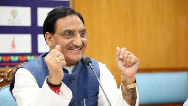 Union Minister of Human Resource Development (HRD) Dr Ramesh Pokhriyal.(Twitter/ HRDMinistry)