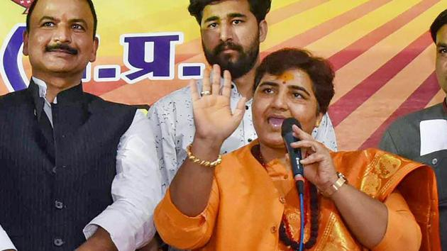 """ragya Thakur has embarrassed the party by referring to the Mahatma's assassin. In the run up to the national elections, Pragya Thakur had said """"Nathuram Godse was a 'deshbhakt' (patriot), is a 'deshbhakt' and people consider him as a 'deshbhakt'.""""(PTI)"""