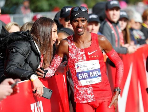 Britain's Mo Farah after finishing eighth in the men's marathon.(REUTERS)