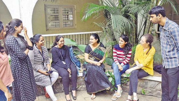 Students of St MIra's college with professor Jaya Rajagopalan, head of the department of psychology that offers a course on mindfulness-based counselling.(Shankar Narayan/HT PHOTO)