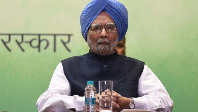 Former Prime Minister Dr Manmohan Singh during the Indira Gandhi Prize for Peace, Disarmament & Development on November 19. 2019.(Sonu Mehta/HT PHOTO)