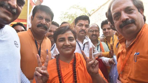 Bhopal MP Pragya Singh Thakur in Bhopal, May 23, 2019(Mujeeb Faruqui/HT Photo)