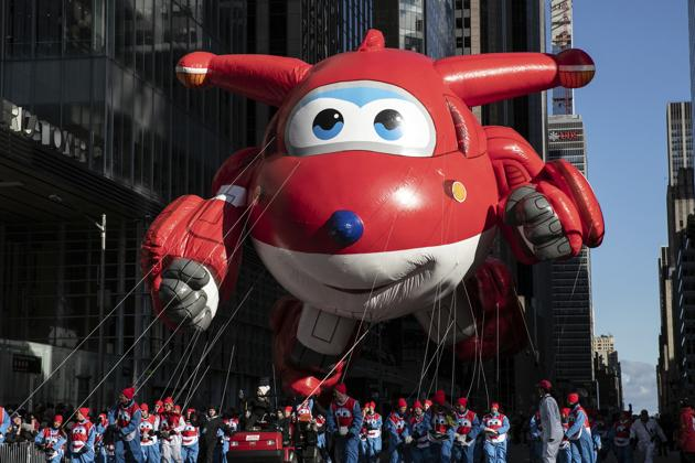 Jett by Super Wings balloon makes its way down New York's Sixth Avenue during the Macy's Thanksgiving Day Parade, Thursday, Nov. 28, 2019, in New York.(AP Photo)