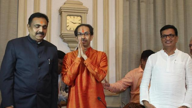 Newly elected Maharashtra Chief Minister Uddhav Thackeray along with minister addressing to media at Sahyadri Guest House after attending his first cabinet meeting in Mumbai, India, on Sunday, November 2, 2011.(Bhushan Koyande/ HT Photo)