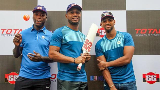 West Indies cricketer Evin Lewis, Nicholas Pooran and Sherfane Rutherford,(PTI)