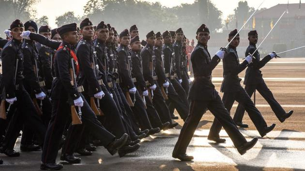 At the NDA passing out parade, Rajnath Singh said India won't spare anyone looking to mess with the country.(HT Photo/File)