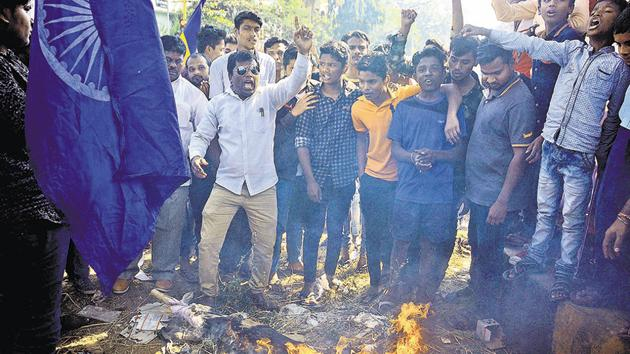 On January 1, 2018, riots broke out in various parts of Pune district on the occasion of the 200th commemoration day of the Bhima-Koregaon battle in which the East India Company defeated the Peshwas with the help of Dalit soldiers. One person was killed in these riots and at least 11 arrested, two of whom are out on bail.(HT/ FILE PHOTO)