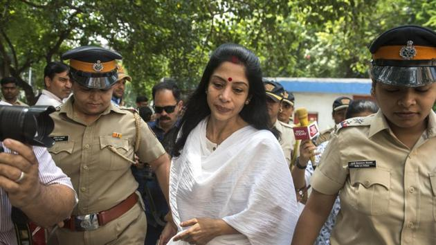 Indrani Mukerjea, accused in the Sheena Bora murder case arrives at Bandra family court to file for divorce in Mumbai in September 2018.(Satish Bate/HT Photo)