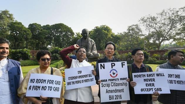 Congress MPs from northeast and Naga People's Front MPs protest against the Citizenship Amendment Bill at Parliament during the ongoing Winter Session, in New Delhi.(PTI)