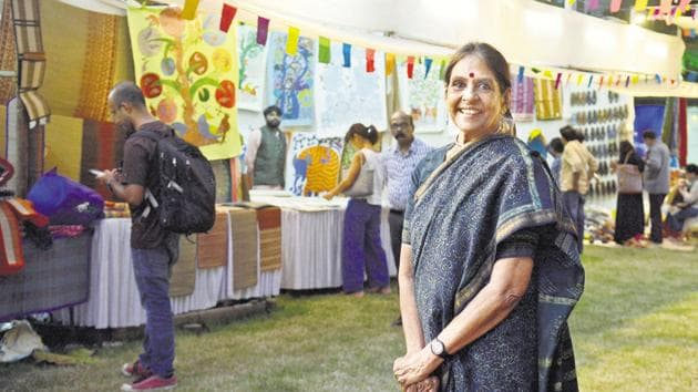 Jaya Jaitly, poses for a picture at a flea market in Pune.(Shankar Narayan/HT PHOTO)