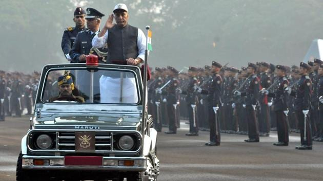 Passing out parade of the 137th course of the NDA was held at the Khetrapal Parade ground of the academy on Saturday in the presence of defence minister Rajnath Singh.(HT PHOTO)