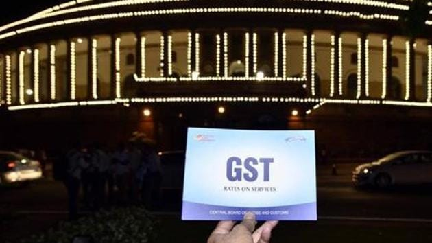 GST revenue, which is a tax on consumption, had slumped below Rs 1 lakh crore after July, when the receipt was Rs 1,02,083 crore.(Arun Sharma/ Hindustan Times)