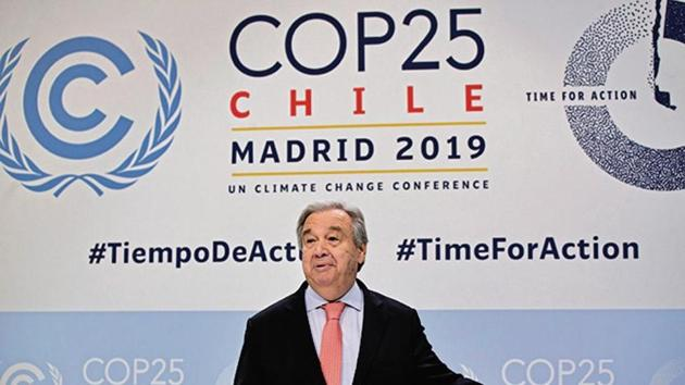 UN Secretary-General Antonio Guterres arrives for a news conference at the COP25 summit in Madrid, Spain(AP Photo)