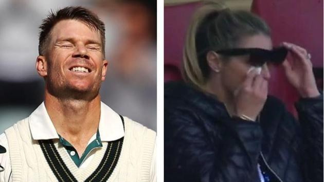David Warner's wife Candice gets emotional after husband scores unique triple hundred against Pakistan((AP + Twitter))