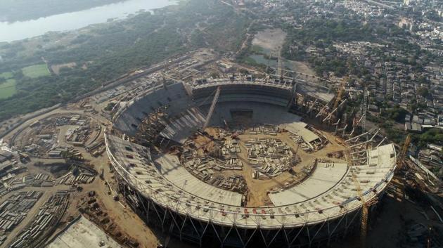 Aerial shot of the under construction Sardar Patel Stadium in Motera, Ahmedabad.(Twitter)