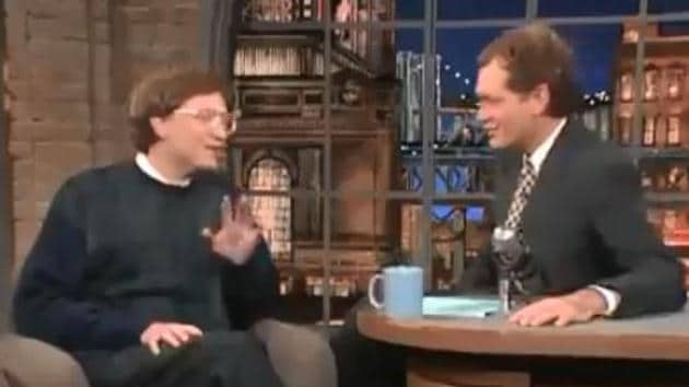 Bill Gates and David Letterman chat about internet.