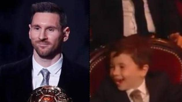 Lionel Messi and son Mateo.(Reuters and Ballon d'Or Twitter)