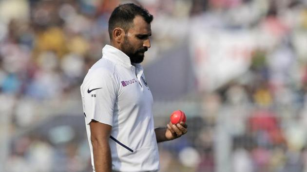 India's Mohammed Shami prepares to bowl.(AP)