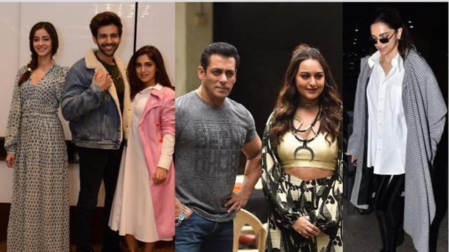 Pati Patni Aur Woh cast in Delhi (left), Salman Khan and Sonakshi Sinha promote Dabangg 3 in Mumbai and Deepika Padukone at Mumbai airport on Thursday.(Varinder Chawla)