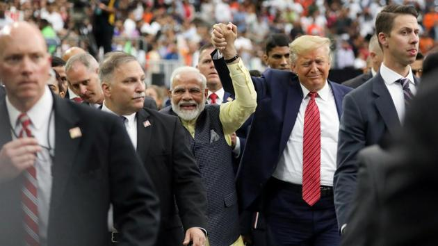 "US President Donald Trump participates in the ""Howdy Modi"" event with Indian PM Narendra Modi in Houston, Texas, US.(Photo: Reuters)"