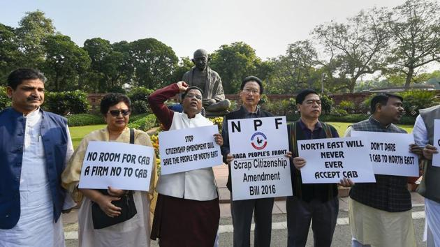 Congress MP from northeast and Naga People's Front MPs protest against the Citizenship Amendment Bill at Parliament during the ongoing Winter Session, in New Delhi.(PTI)