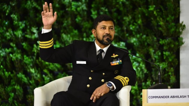 Cdr Tomy is the first Indian to complete a solo, non-stop circumnavigation of the world under sail in 2013.(Photo: Raj K Raj/ Hindustan Times)
