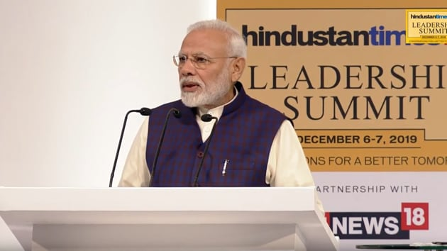 The Prime Minister was delivering the inaugural address on the first day of the two-day Hindustan Times Leadership Summit's 17th edition.(HT Photo)